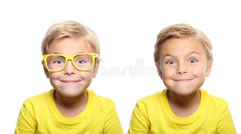 Garçon mignon heureux avec les verres jaunes image stock