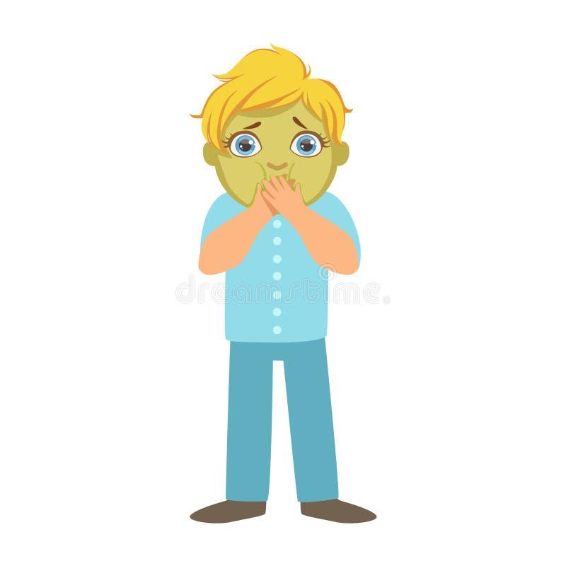 Garçon nauséabond avec le visage vert, enfant malade se sentant souffrant en raison de la maladie, partie d'enfants et problèmes  illustration de vecteur