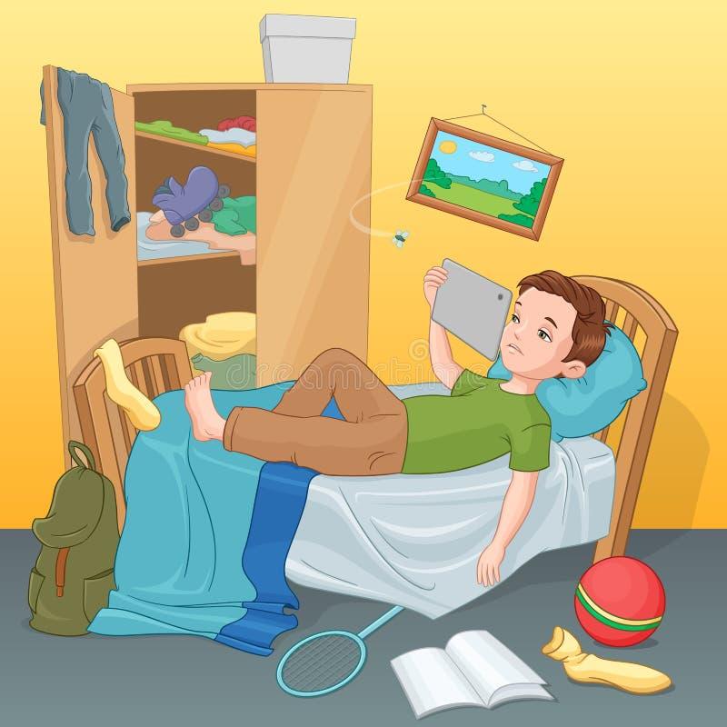 Garçon paresseux se trouvant sur le lit avec le comprimé Illustration de vecteur illustration libre de droits