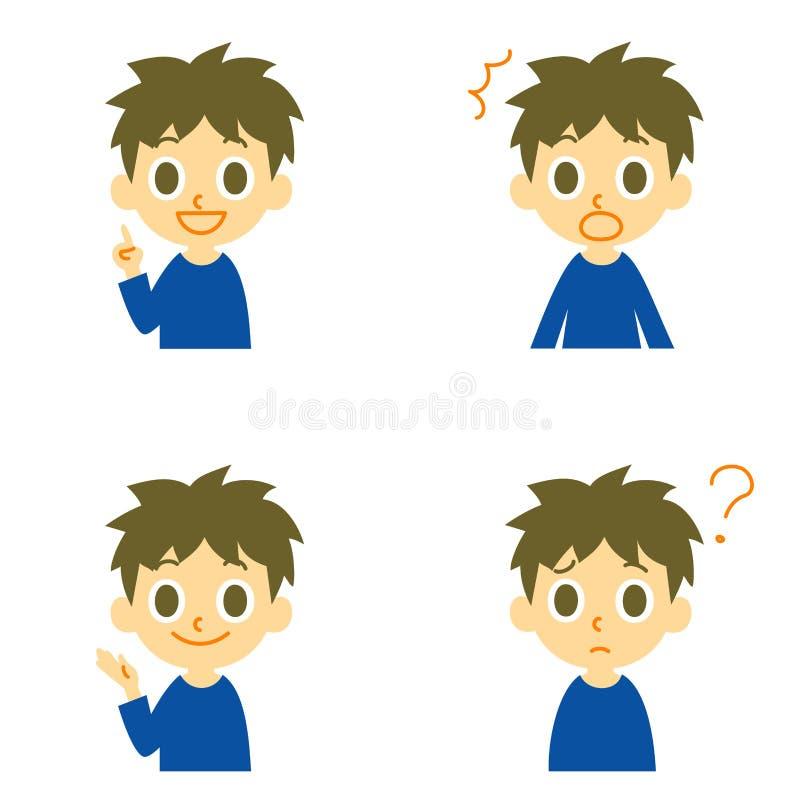 Garçon, parler, étonné, confus illustration de vecteur