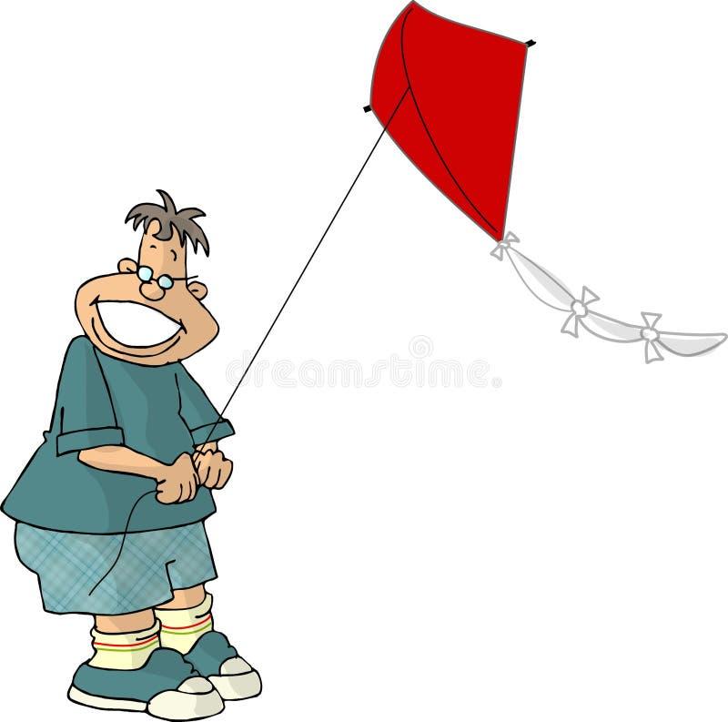 Garçon pilotant un cerf-volant illustration libre de droits