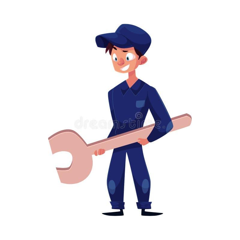 Garçon plat de mécanicien de vecteur jeune avec la clé illustration libre de droits