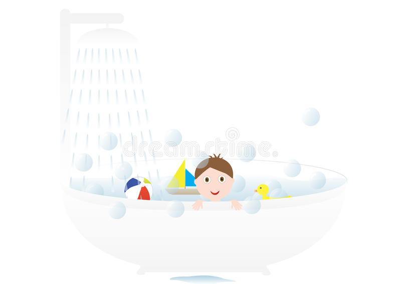 Garçon prenant un bain illustration libre de droits