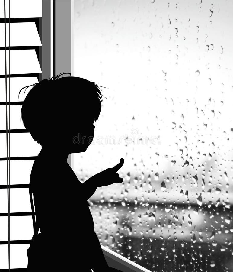 Garçon regardant la pluie tombe sur la fenêtre - silhouette