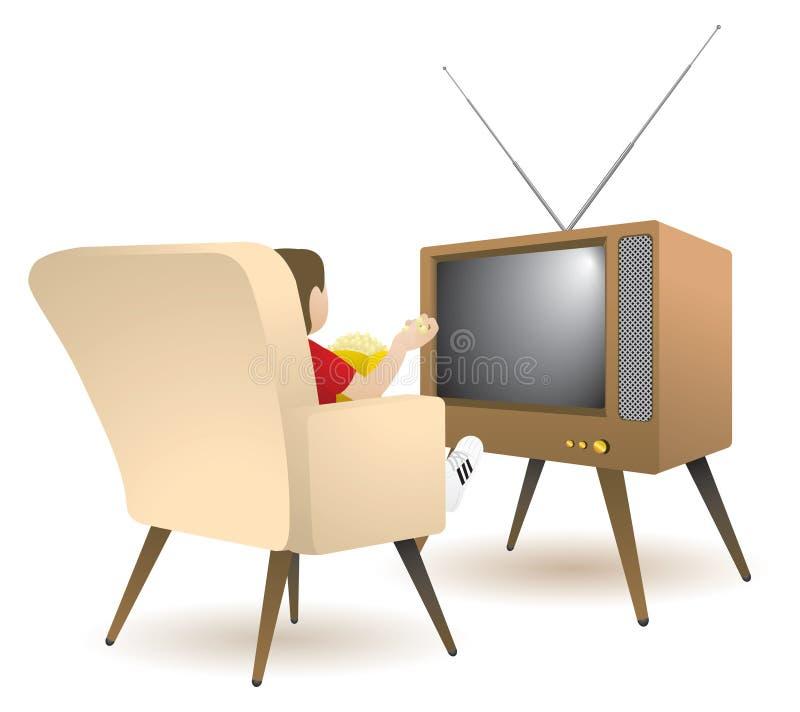 Garçon regardant la TV illustration stock