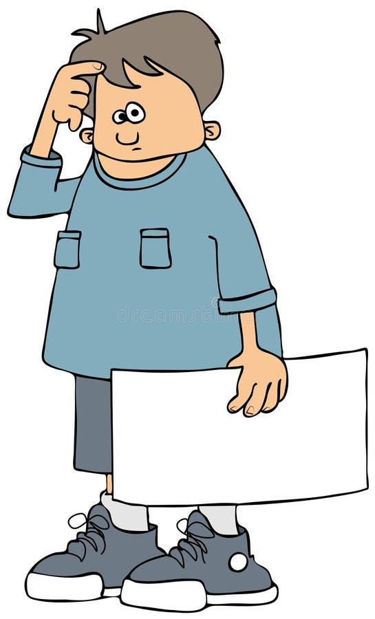 Garçon retenant un signe blanc illustration de vecteur