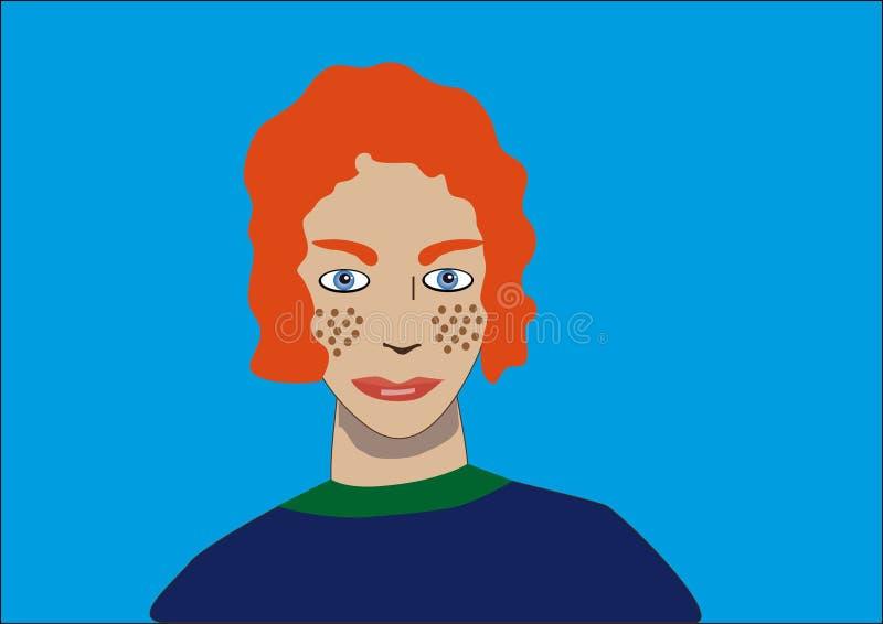 Garçon rouge de cheveux avec des taches de rousseur illustration stock