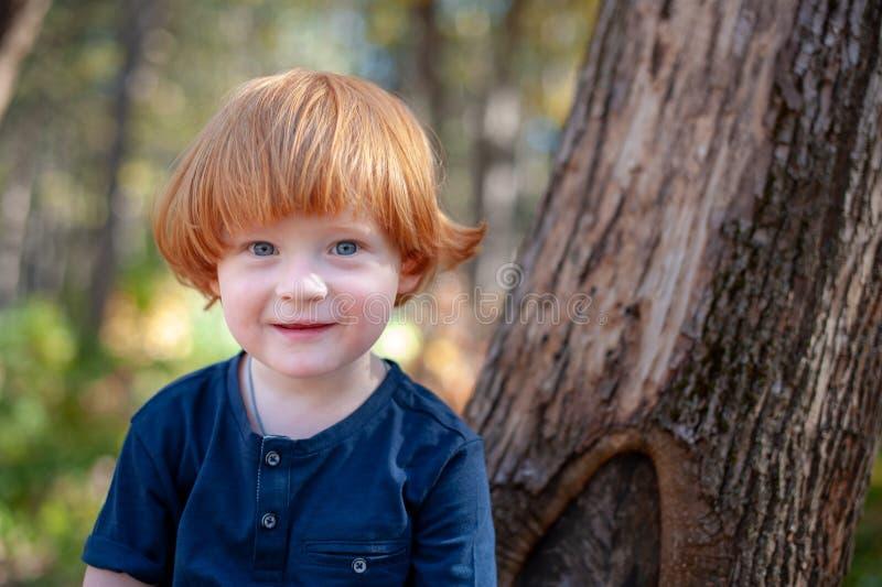 Garçon roux avec de longs cheveux photographie stock