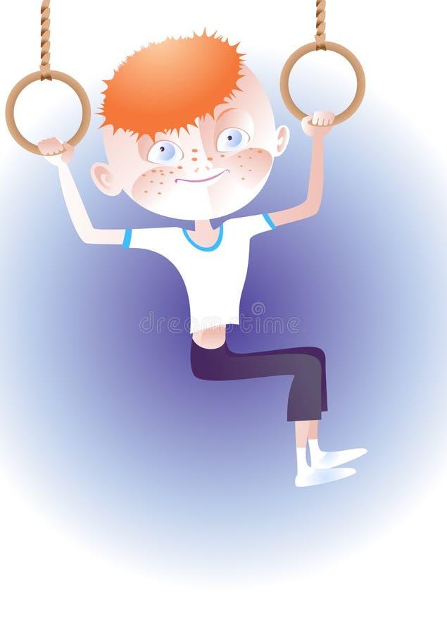 Garçon roux de gimnast illustration de vecteur