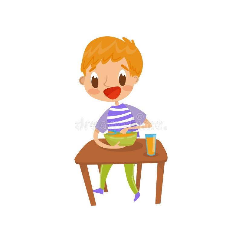 Garçon roux mignon mangeant de la soupe sur l'illustration de vecteur de table de salle à manger d'isolement sur un fond blanc illustration stock