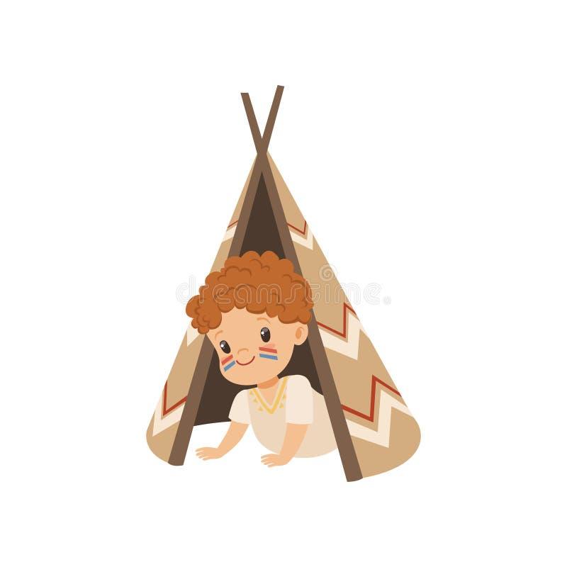 Garçon s'asseyant dans une tente de tepee, enfant jouant dans l'illustration indienne de vecteur sur un fond blanc illustration de vecteur
