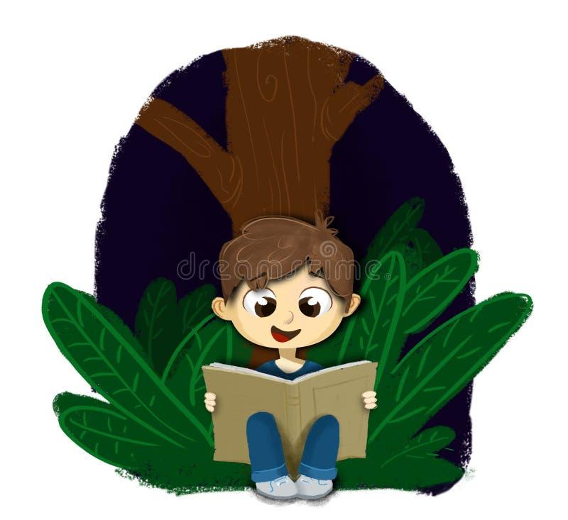 Garçon s'asseyant lisant un livre la nuit illustration libre de droits