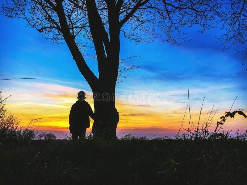Garçon se tenant le premier rôle au coucher du soleil photo stock