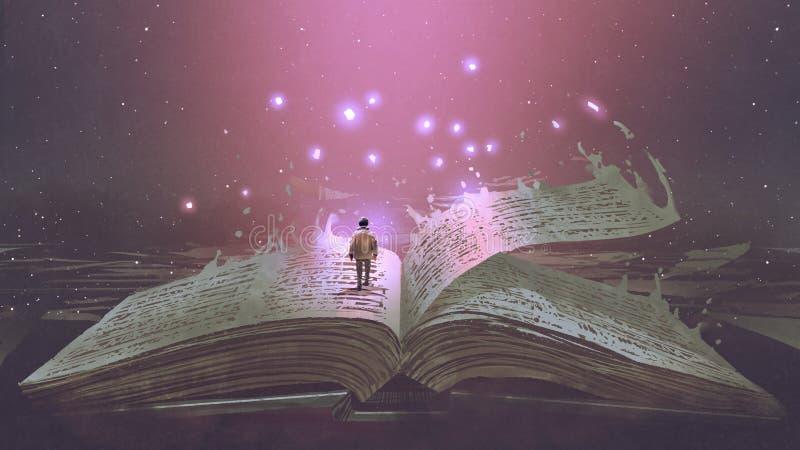 Garçon se tenant sur le livre magique illustration stock