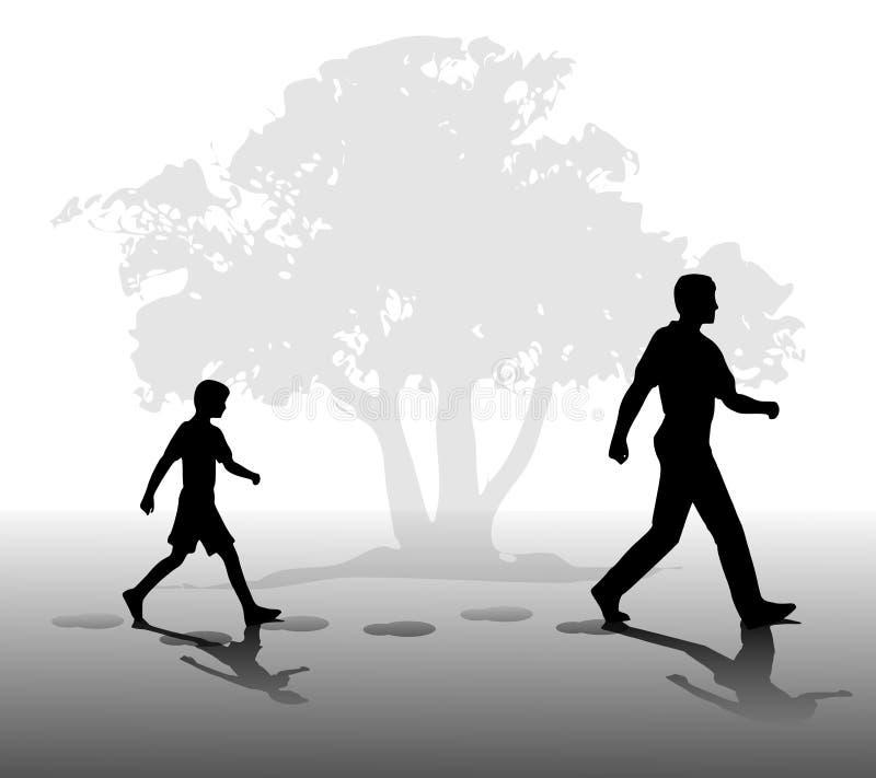 Garçon Suivant Dans Les Marchepieds Du Père Image libre de droits
