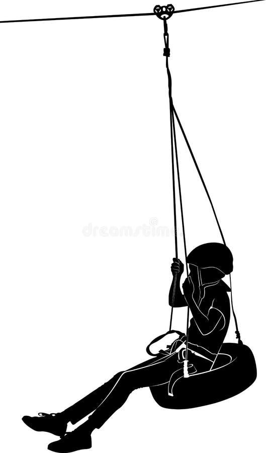 Garçon sur l'oscillation Parc de corde illustration stock