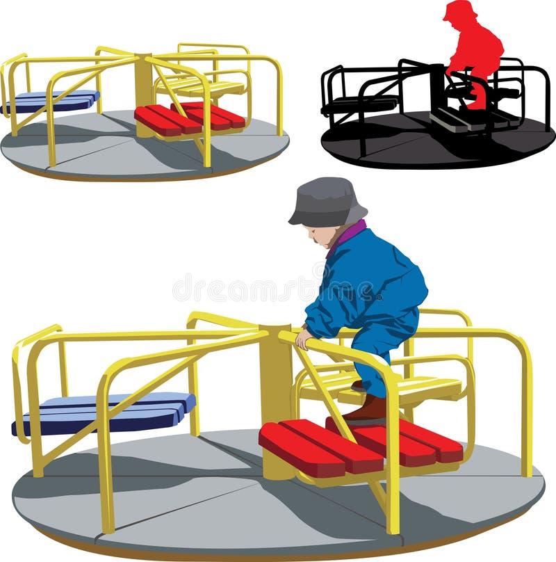 Garçon sur le carrousel illustration libre de droits