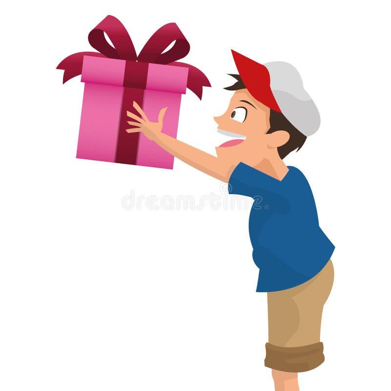 garçon tenant l'icône de cadeau illustration libre de droits