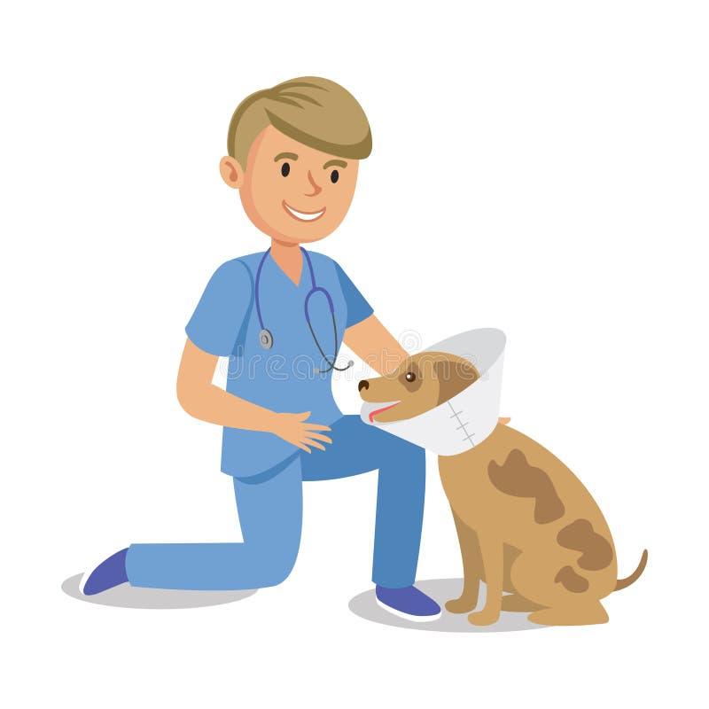 Garçon tenant le chien Docteur d'animal familier Chien curatif vétérinaire de bande dessinée illustration de vecteur