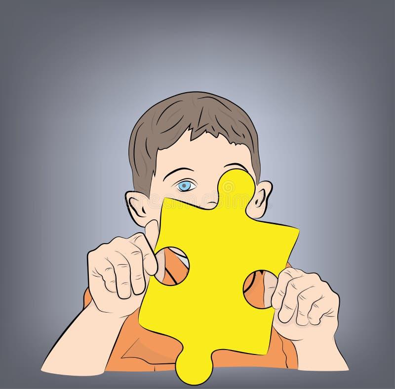Garçon tenant un puzzle dans des ses mains Symbole d'autisme Illustration de vecteur illustration libre de droits