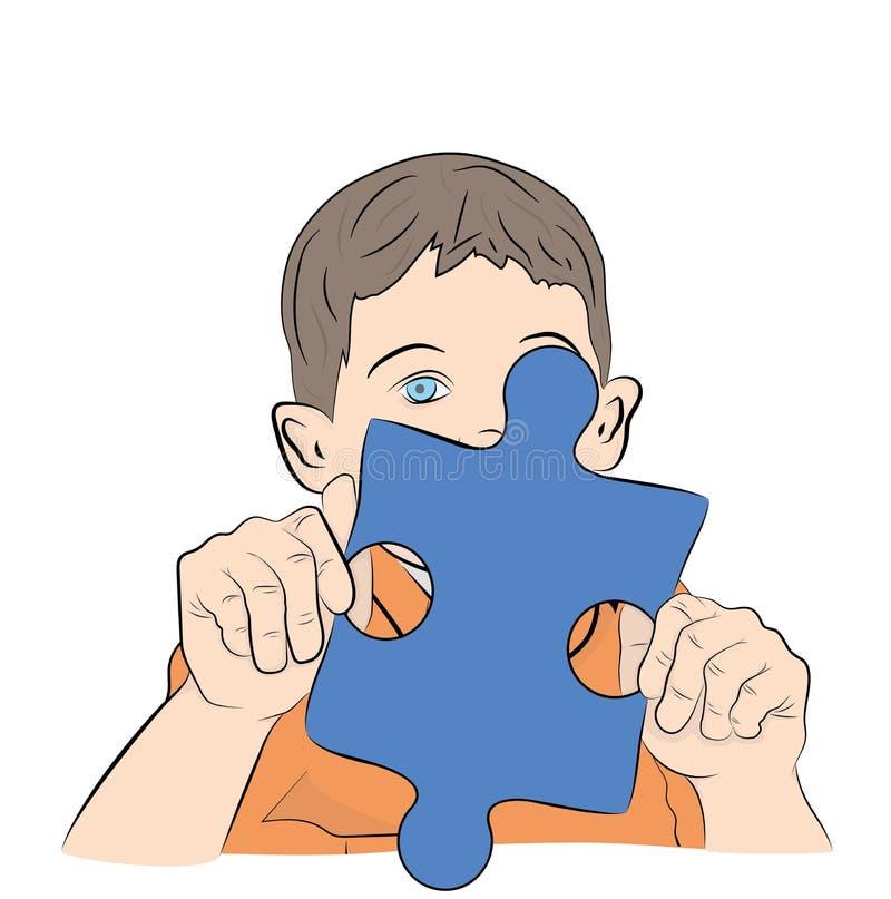 Garçon tenant un puzzle dans des ses mains Symbole d'autisme Illustration de vecteur illustration stock