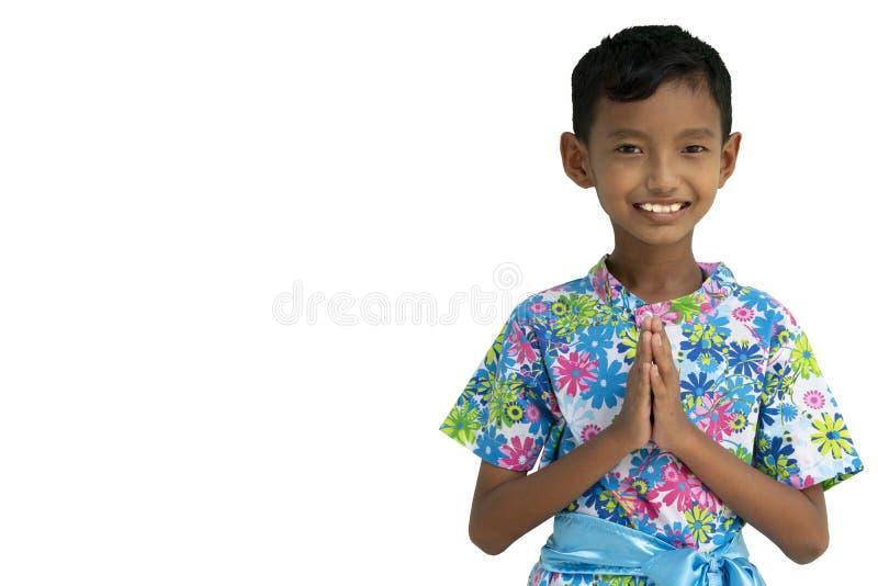 Garçon thaïlandais, position d'homme bonjour photo stock