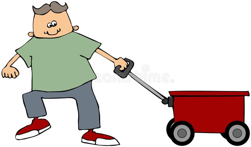 Garçon tirant un chariot rouge illustration stock