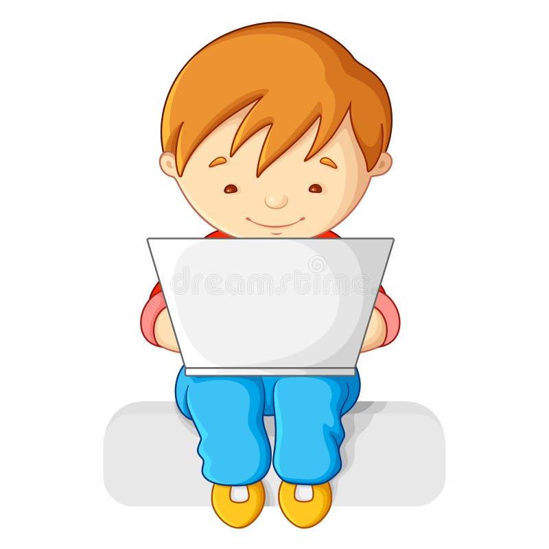 Garçon travaillant au cahier illustration libre de droits