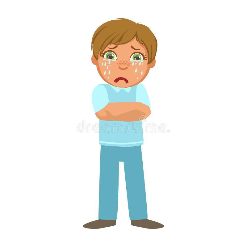 Garçon tremblant avec la fièvre, l'enfant malade se sentant souffrant en raison de la maladie, la partie d'enfants et les séries  illustration de vecteur