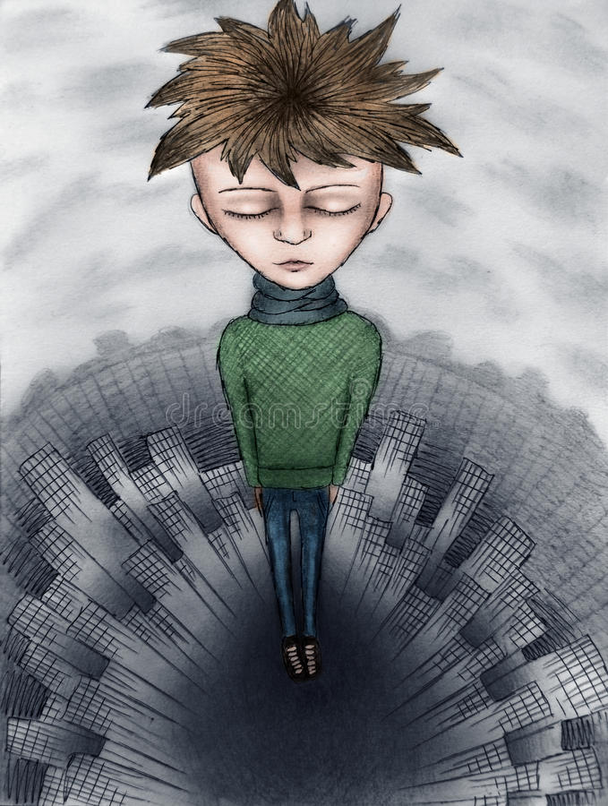 Garçon triste illustration stock