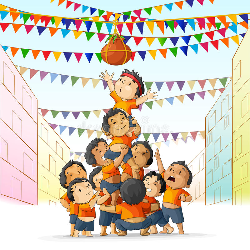 Garçons à jouer le dahi Handi dans Janmashtami illustration stock