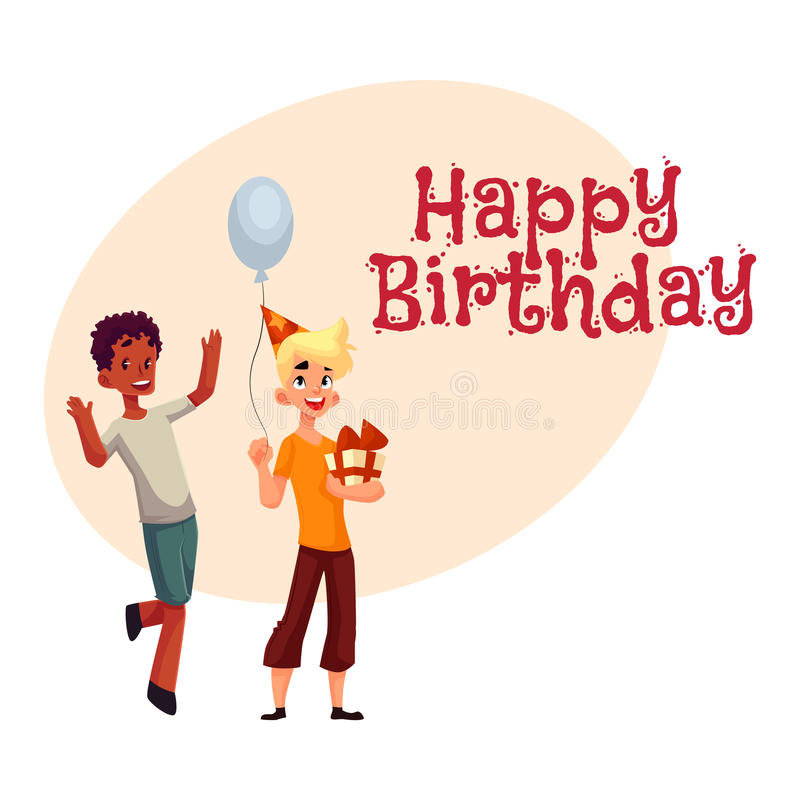 Garçons à la fête d'anniversaire, danse noire, cadeau se tenant caucasien, ballon illustration libre de droits