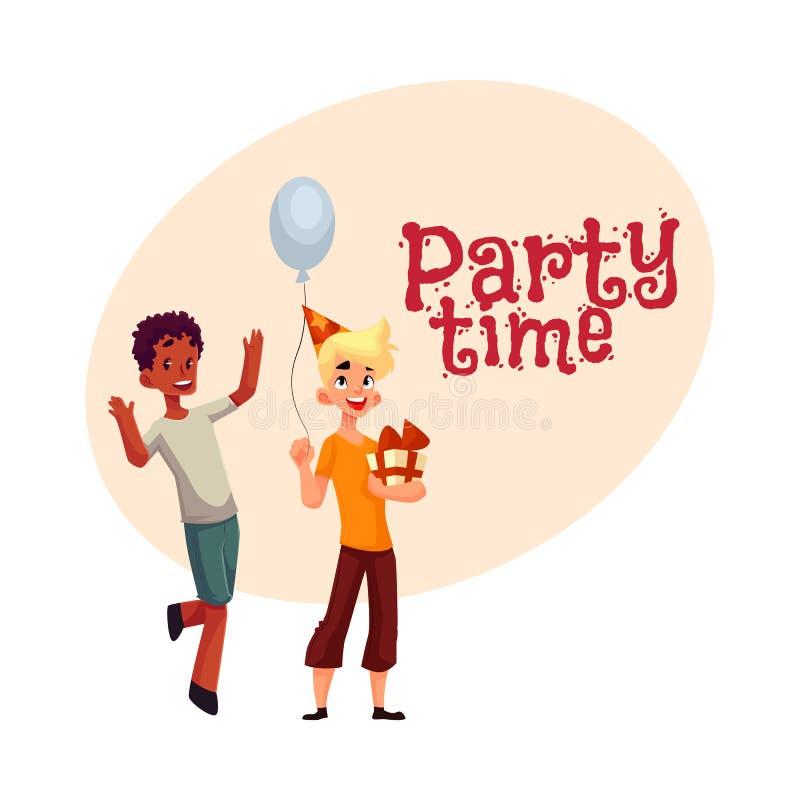 Garçons à la fête d'anniversaire, danse noire, cadeau se tenant caucasien, ballon illustration de vecteur