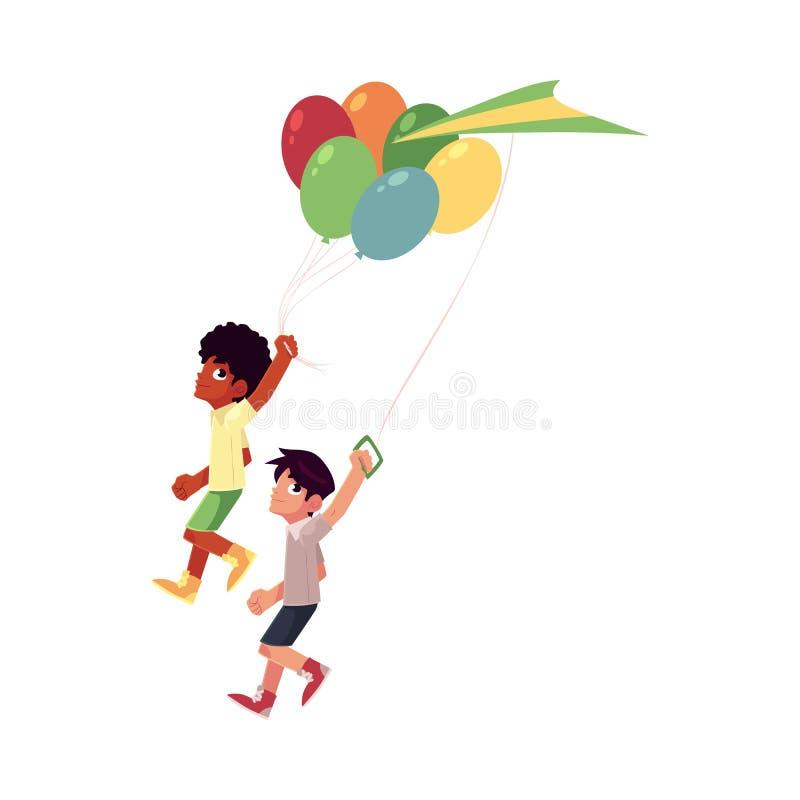 Garçons d'africain noir et de Caucasien courant ainsi que des ballons, cerf-volant illustration libre de droits