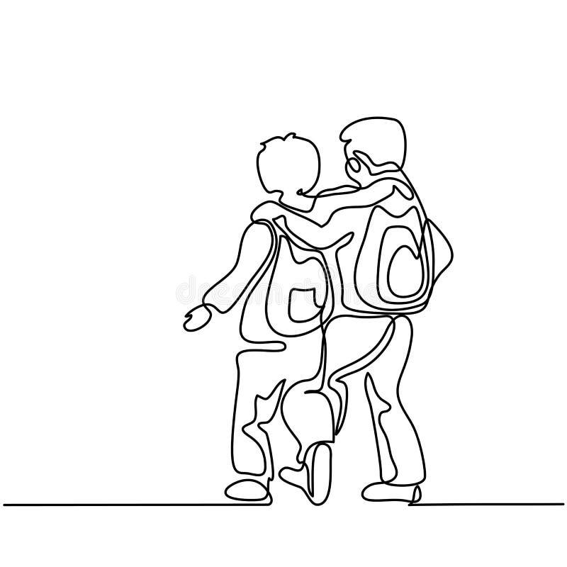 Garçons d'amis retournant à l'école avec des sacs illustration libre de droits