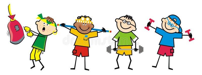 Garçons dans le gymnase Boxe, renforçant et haltérophilie illustration libre de droits