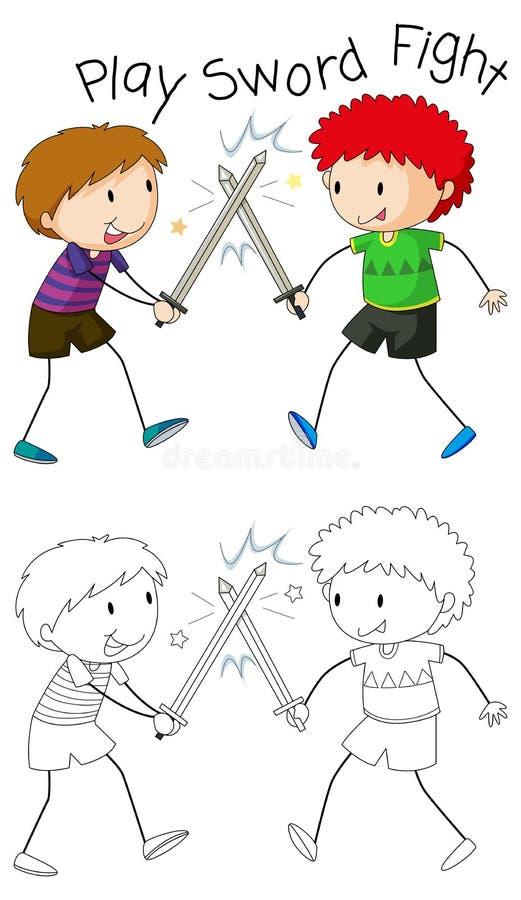 Garçons de griffonnage jouant le combat d'épée illustration libre de droits