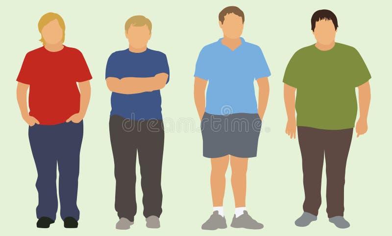 Garçons de l'adolescence de poids excessif illustration libre de droits