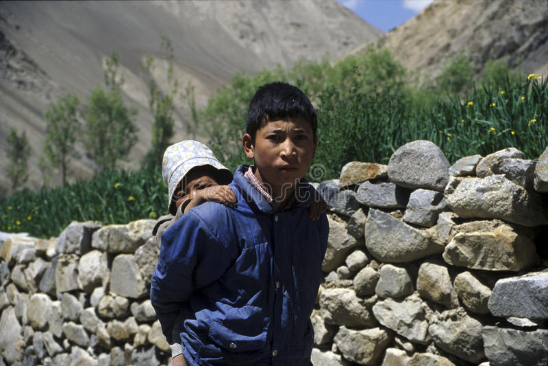 Garçons de Ladakhi image libre de droits