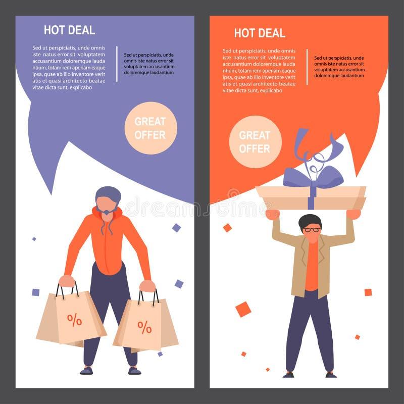 Garçons de mode avec les bannières verticales de cadeaux illustration libre de droits