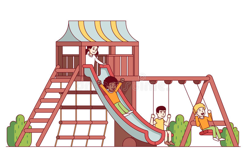 Garçons et enfants de filles jouant sur le terrain de jeu d'école illustration stock