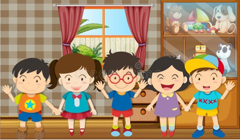 Garçons et filles dans la chambre illustration de vecteur