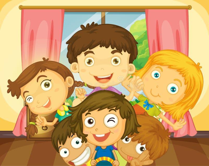 Garçons et filles heureux dans la maison illustration libre de droits