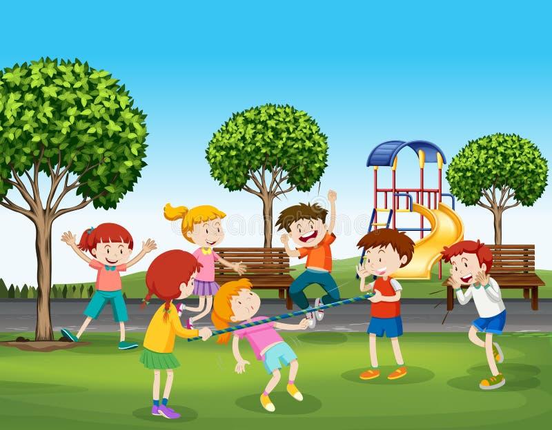 Garçons et filles jouant en parc illustration stock