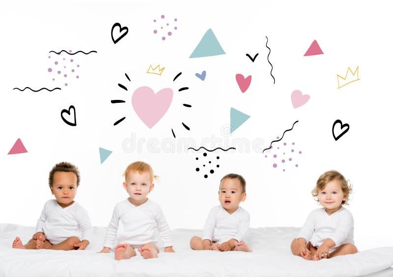 garçons et filles multi-ethniques d'enfant en bas âge photo stock