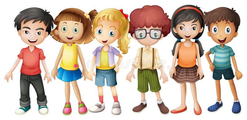Garçons et filles se tenant dans le groupe illustration libre de droits