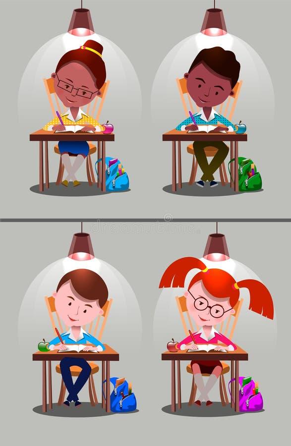 Garçons, filles Enfants d'école illustration libre de droits