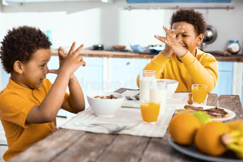 Garçons gais maniant maladroitement leurs nez à l'un l'autre pendant le petit déjeuner images stock