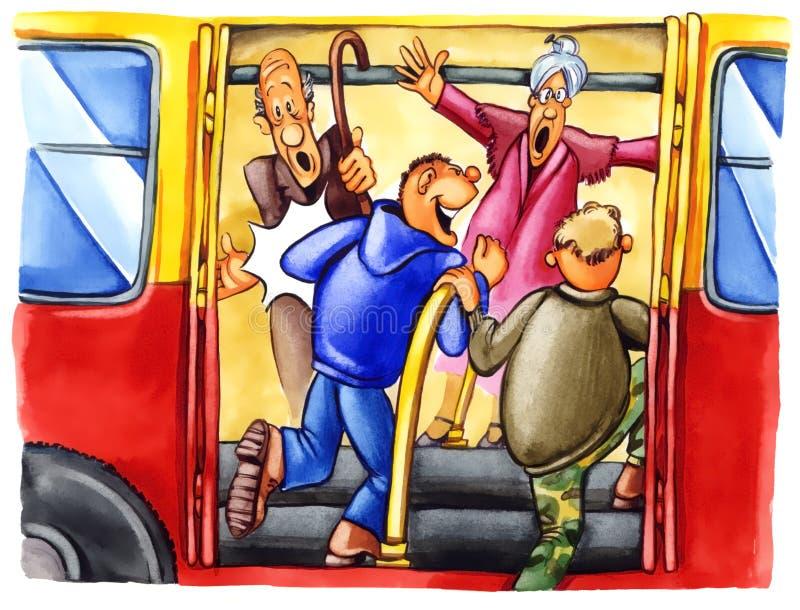 Garçons grossiers sur l'arrêt de bus illustration de vecteur