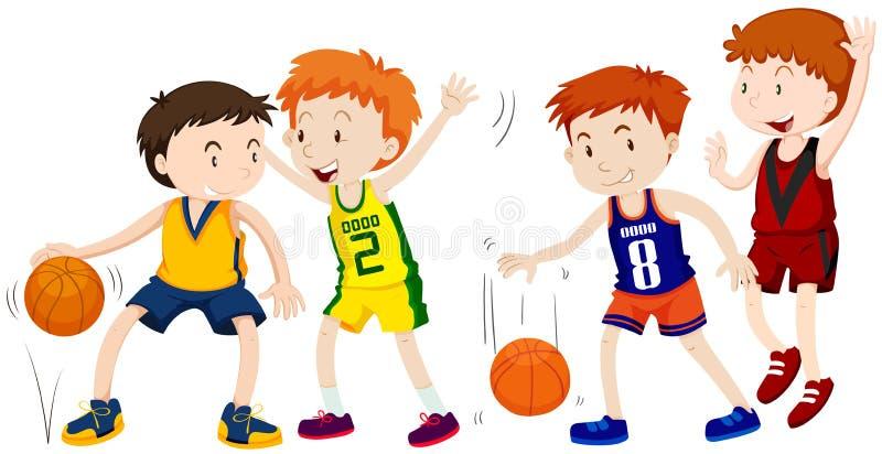 Garçons jouant le basket-ball sur le fond blanc illustration libre de droits